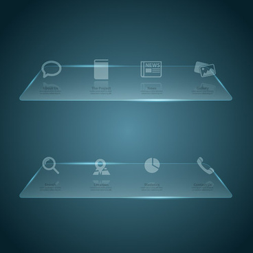 glass web interface design vector