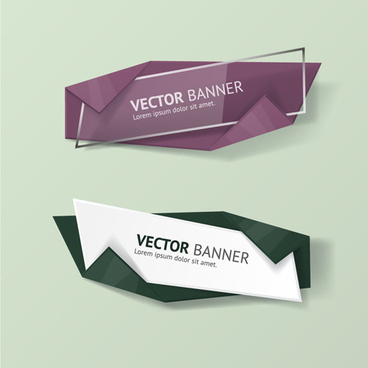 glass with origami business banners vector