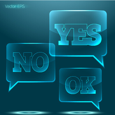 glass yes or no speech bubbles vector