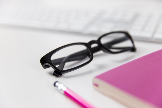 glasses on office desk