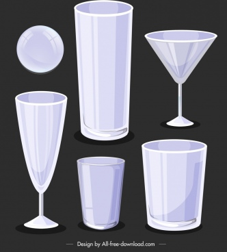 glassware icons modern 3d blank sketch