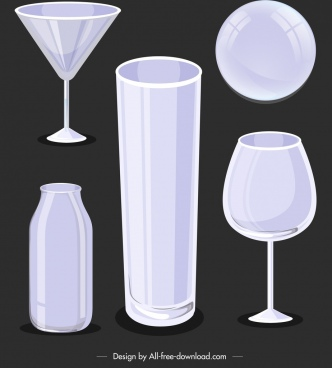glassware utensils icons blank 3d sketch