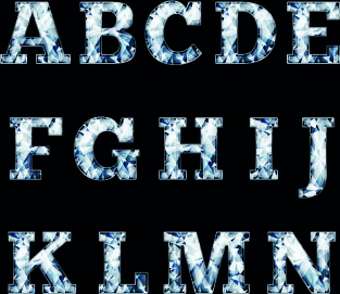 glitter diamond alphabet letters vector