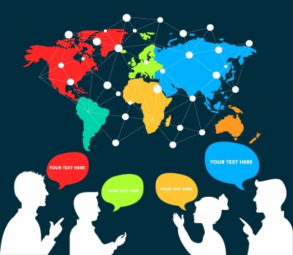 global communication background human white silhouette dots connection