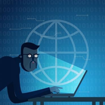 global internet background man laptop icon dark design