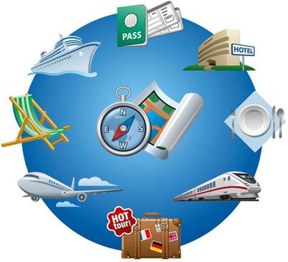 global travel elements creative design vector