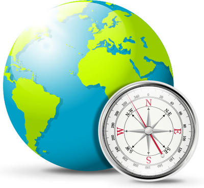 globe and compass creative vector