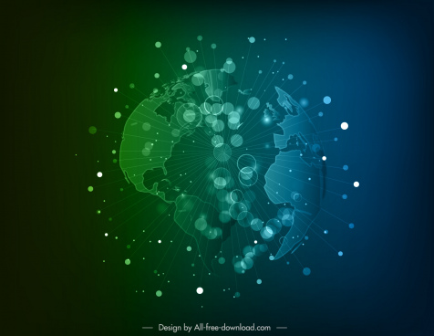 globe background modern dynamic bursting 3d sketch