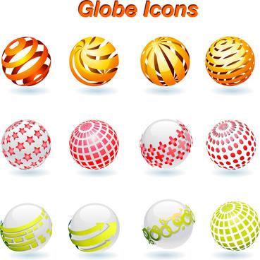 globe icons set