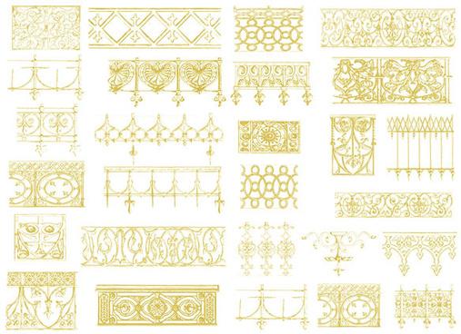 glod floral ornaments vector