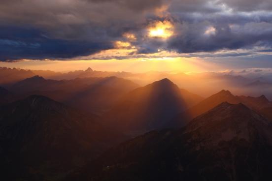 glorious sunset over mountain peaks