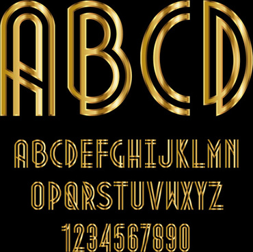 glossy golden alphabet and numbers vector
