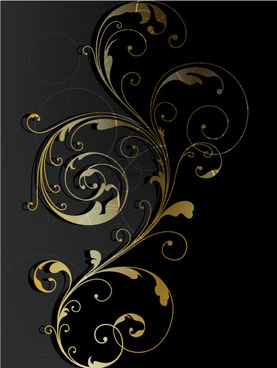 glossy golden floral ornaments vector background