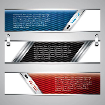 glossy metal structure banner vector