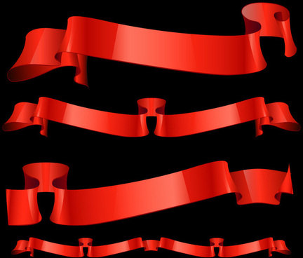 glossy red ribbon banner set