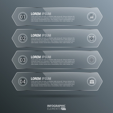 glossy vertical hexagon infographics