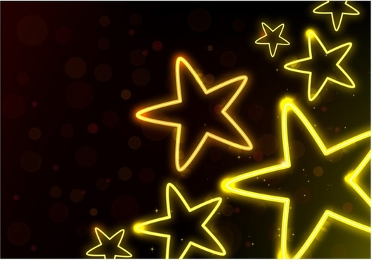 Glowing Neon Stars