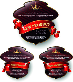 glowing new product labels vector