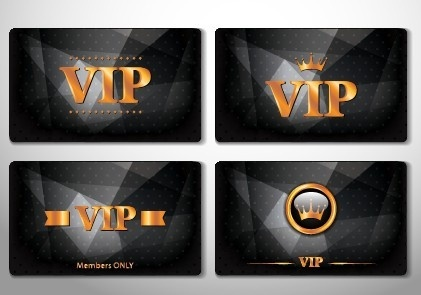 glowing vip card creative design vector set
