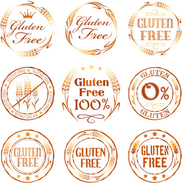gluten free logos with labels vector