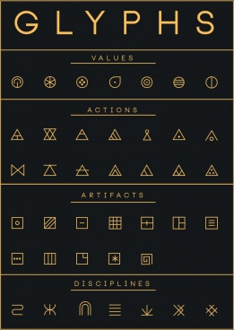glyphs design elements flat geometric icons