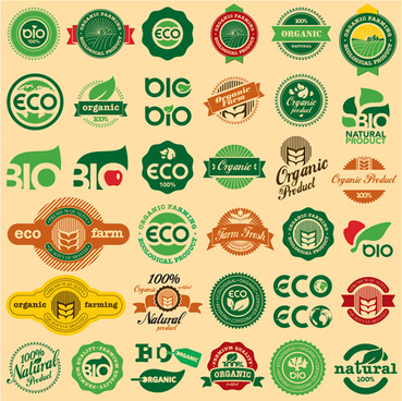 go green eco and bio labels with stickers vector