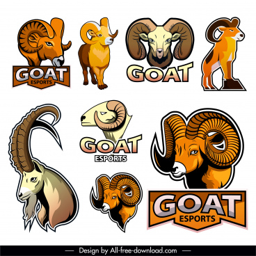 goat logo icons colored flat design