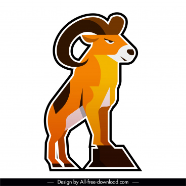 goat logotype colored flat paper cut sketch