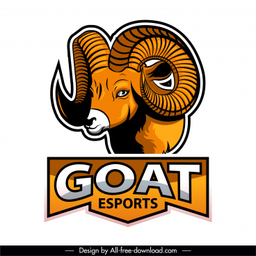 goat logotype colored modern flat sketch
