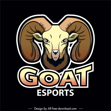goat logotype template colored symmetric decor