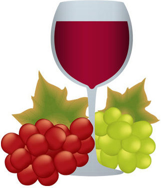 goblet and grapes vector food art