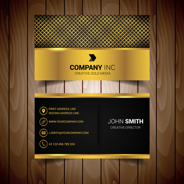 Gold and black business card vector free vector download 30371 gold abstract business card colourmoves