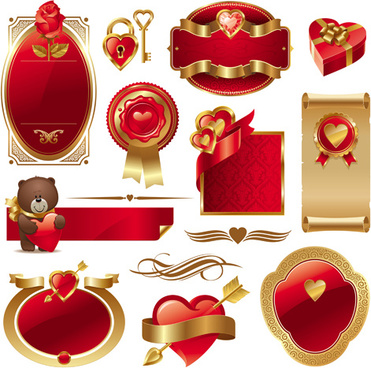 gold and red valentine day labels vector