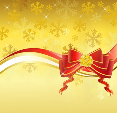 Gold background with red bow