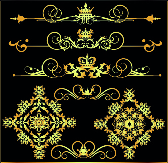 gold calligraphic decor vector