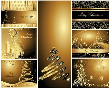 gold christmas postcards vector