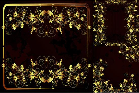 gold color frame floral vector
