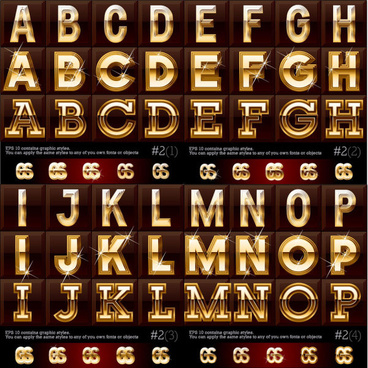 gold color letter8 digital vector