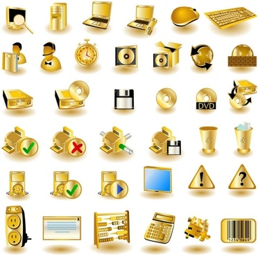 Gold common computer icon 01 vector