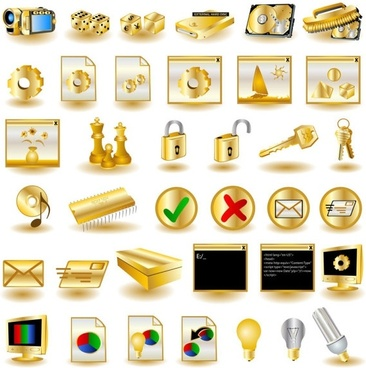 gold common computer icon 02 vector
