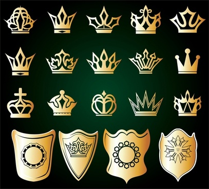 herald design elements golden crown shield icons