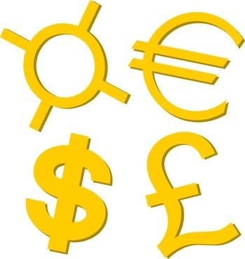 Gold Currency Symbols clip art