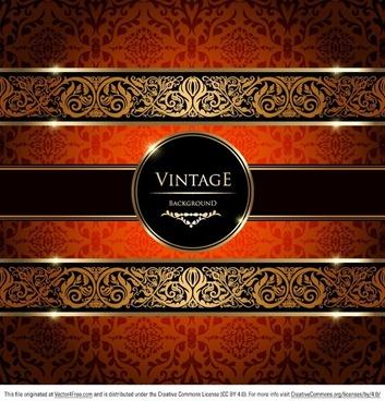 gold damask vintage background vector