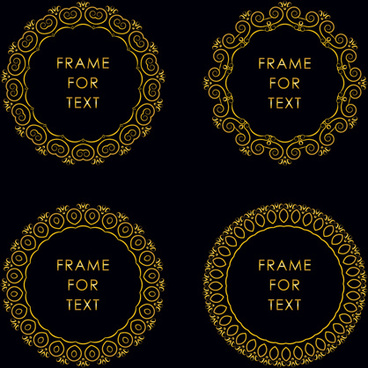gold deco frame beautiful vector set