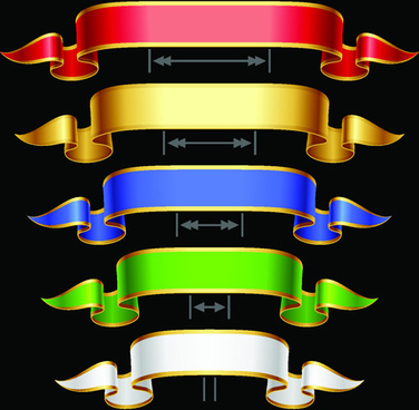 gold edges ribbon banners vector graphic