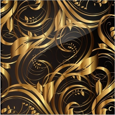 gold elegant floral patterns vector