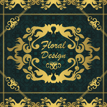 gold floral design elements backgrounds vector