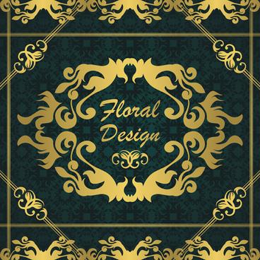 gold floral design elements backgrounds vector