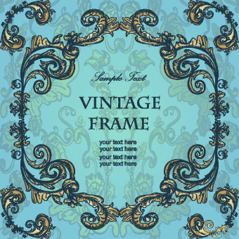 gold floral ornament frame vector