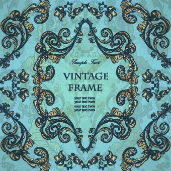 gold floral ornament frame vector